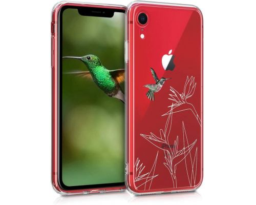 Une Coque iPhone XR Fuchsia-Blanc-Transparent