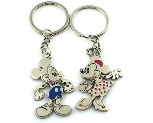 Un Lot de 2 Porte Clefs Disney Mickey et Minnie