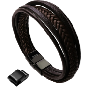 <notranslate>a Men&#39;s Genuine Leather And Stainless Steel Leather Bracelet For Men</notranslate>