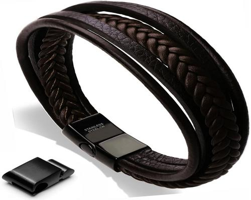 a Men's Genuine Leather And Stainless Steel Leather Bracelet For Men