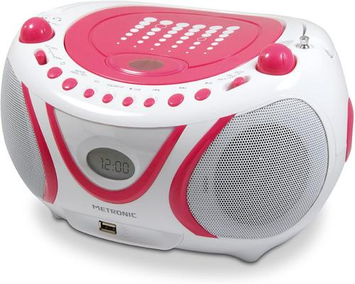 en Metronic 477109 Radio / Cd / Mp3-afspiller Pop Pink med USB-port