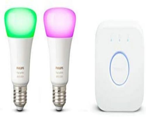 a Philips Hue Starter Kit 2 Connected White & Color Ambiance E27 + Connection Bridge