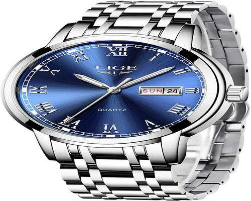 A Lige Watch Men Fashion Stainless Steel Waterproof Quartz Analog Men With Business Dress