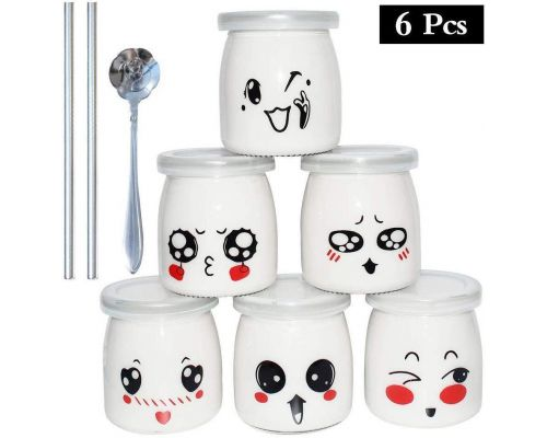A Set of 6 Emoticon Decor Yoghurt Jars