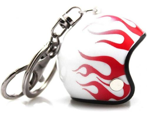 A Red Flaming Motorcycle Helmet Keyring