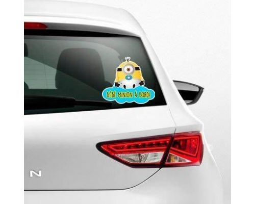 Un Sticker Bébé Minion à bord